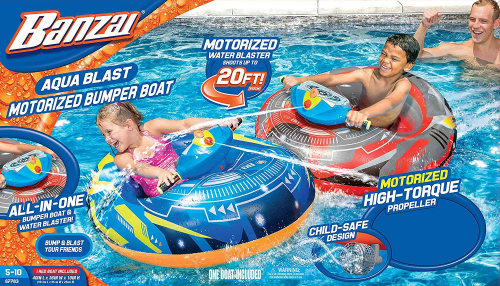 Banzai Aqua Blast Motorized Bumper Boat Blue ( Spring Summer Inflatable Air Wate