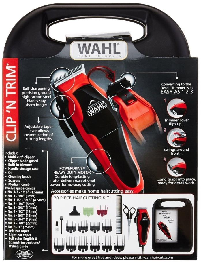 Wahl Professional Hair Cut Trimmer 20 Pcs Set Shaving Clipper NEW Made in USA
