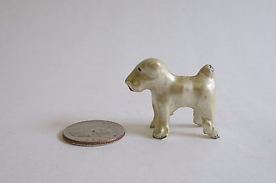 Vintage Miniature Cold Painted Metal White Luster Terrier Dog Figure Tiny Westie