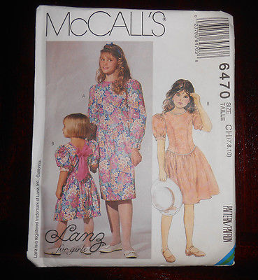 Vintage  McCall's Girls Dress Pattern by LANZ for Girls 6470, Size 7,8,10 UC/FF
