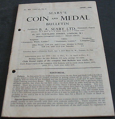Antique - Seaby's Coin And Medal Bulletin April 1950 Scarce!