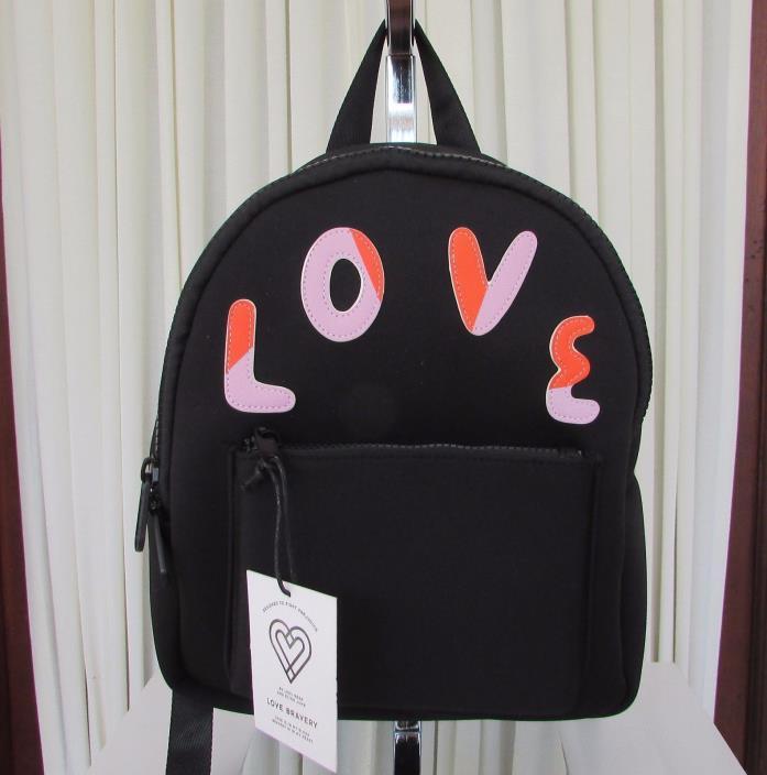 Love Bravery LOVE Backpack Medium Black Neoprene Lady Gaga Elton John NWT