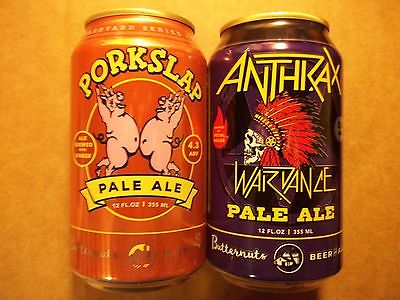 NEW 12 oz Porkslap & Anthrax War Dance Pale Ale Micro Beer Cans Garrattsville NY