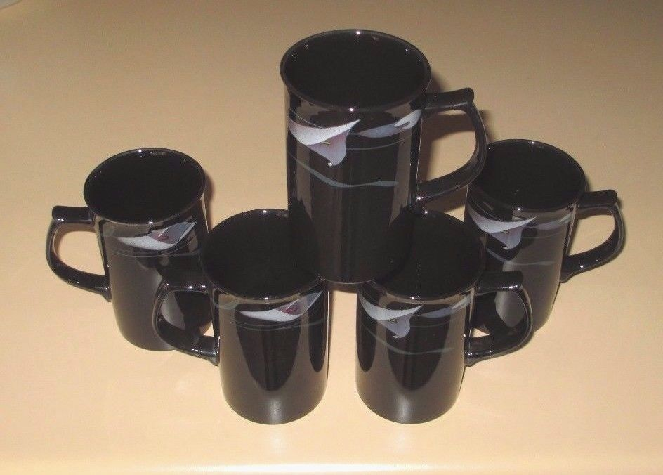 5 MIKASA GALLERIA OPUS BLACK   Coffee Cups Cup Cappuchino Mugs mug  FK701