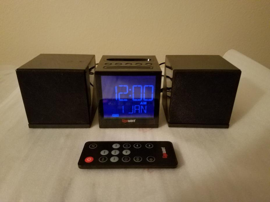 Gigaware Alarm Clock AM/FM Radio for iPhone & iPod Line Input w/ Remote