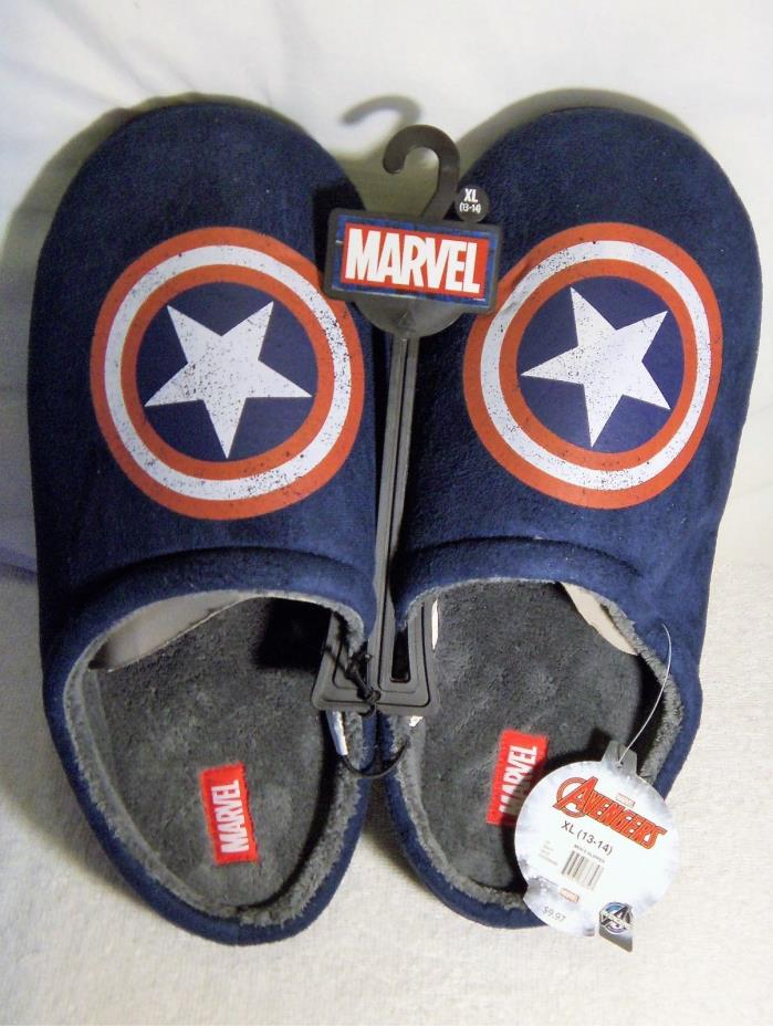 NEW Captain America Marvel Comics Mens SIZE XL 13/14 Blue Slippers