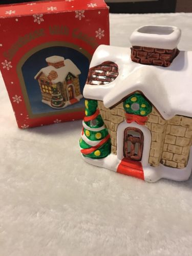 Vintage Russ Christmas Hand Painted Porcelain Snowhouse With Candle In Box