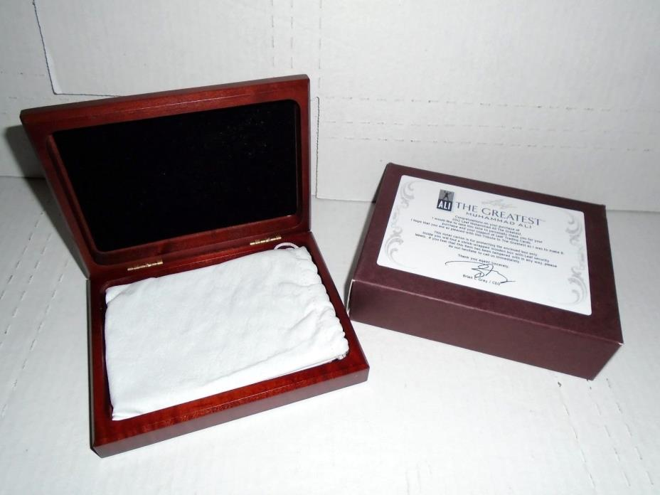 MUHAMMAD ALI LEAF 2012 EMPTY CARD HOLDER WOODEN BOX WITH DRAWSTRING POUCH