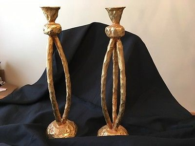 Pierre Casenove Fondica Gilt Bronze Candlesticks