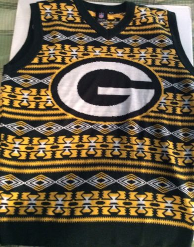 Green Bay Packers Green Gold Aztec Print Ugly Sweater Vest XL NFL Team Apparel