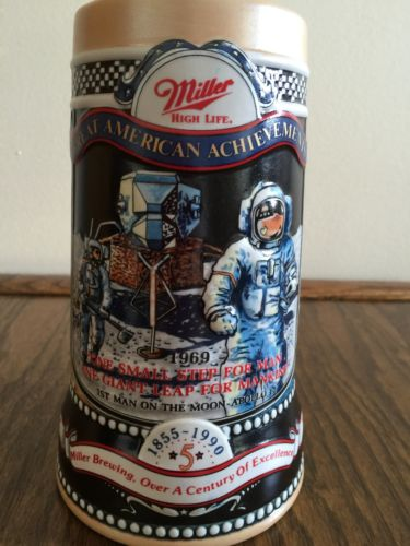 NASA 5TH IN SERIES MILLER BREWING CO. 1990 3-D MUG GREAT AMERICAN ACHIEVEMENTS