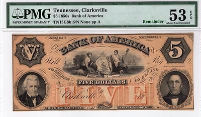1850s $5 Bank of America, Tenn. note. Ch.AU.- 53 EPQ! Beautiful!