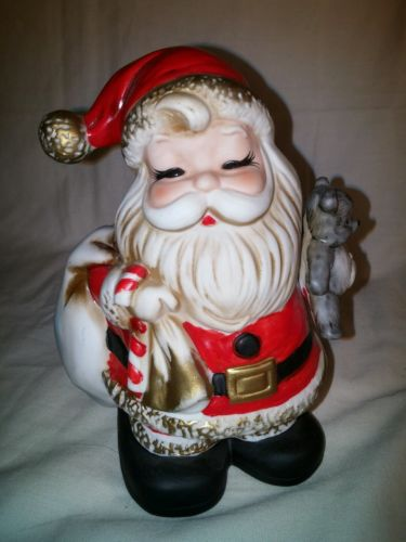 Homco Santa Claus bank #5610 holding teddy bear and gifts Figurine Vintage Rare