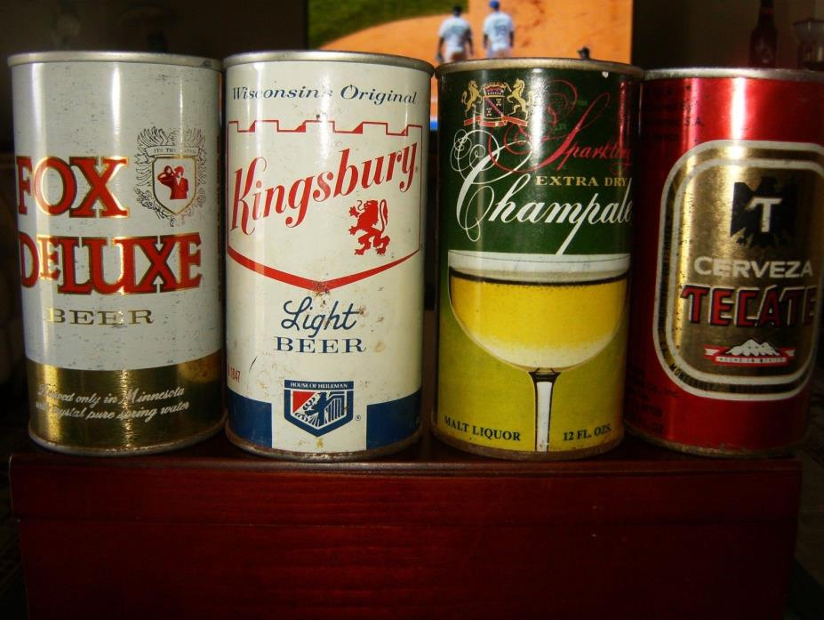 4 VINTAGE 12 OZ STRAIGHT STEEL BEER CANS:FOX DELUXE KINGSBURY CHAMPALE TECATE