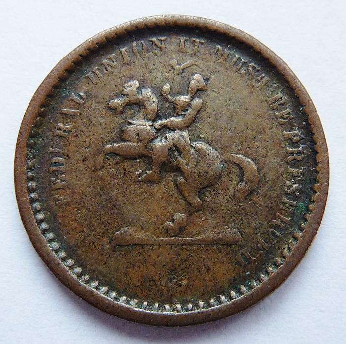1863 CIVIL WAR PATRIOTIC TOKEN F# 178 / 266 ~ JACKSON HORSEBACK / OUR UNION ~ R3