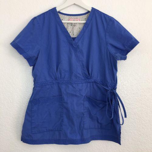Koi By Kathy Peterson Scrub Top Women's Size L Large Blue