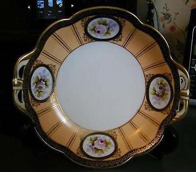 Vintage 1920s Noritake deco bowl w/handles Black& gold Trim floral medallions 8