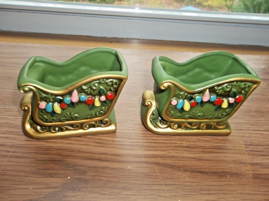VINTAGE NAPCOWARE CERAMIC SLEIGH TAPER CANDLE HOLDERS * GOLD TRIM