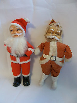 Vintage SANTA CLAUS Cloth Vinyl Plastic Christmas Figures Dolls JAPAN - Lot of 2