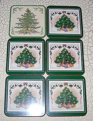Set of 6 Pimpernel Acrylic Spode Coasters Christmas Trees Boxed