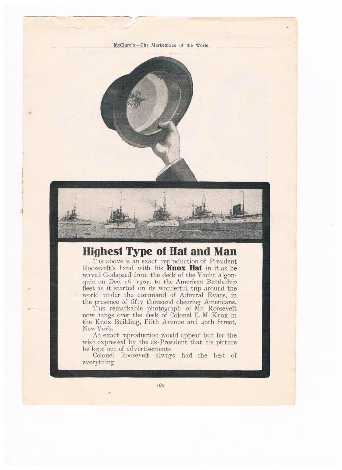 1909 Advertisement - Highest Type of Hat and Man - Knox Hat (#13)