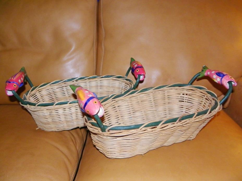 Lot 2 LARGE Woven Baskets with ceramic FISH HANDLES 15