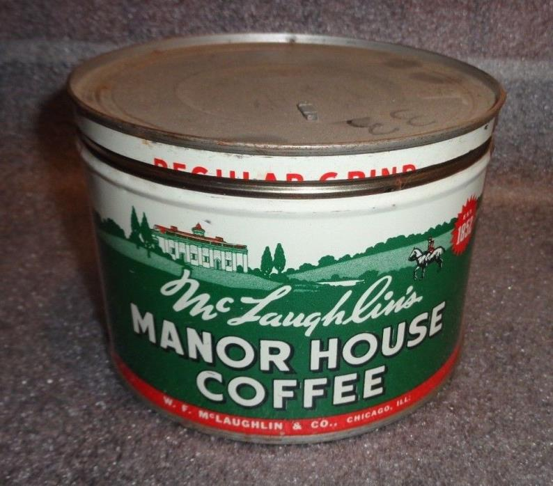 graphic old McLaughlin's Manor House key wind coffee tin