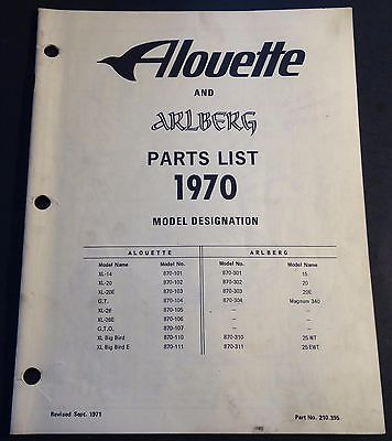 VINTAGE 1970 ALOUETTE & ARLBERG SNOWMOBILE PARTS MANUAL 22 PAGES  (929)
