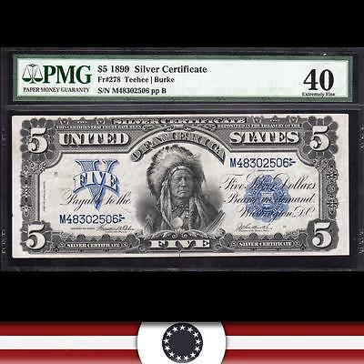 BRIGHT 1899 $5 Silver Certificate *CHIEF*  PMG 40, Fr 278   M48302506