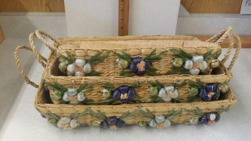 Vintage Woven Basket Rope Handles Wicker Woven Raffia Flower Design Set of 3