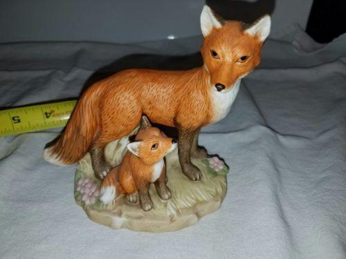 Homco Fox and Kit Home Interiors wildlife nature Figurine Baby Fox