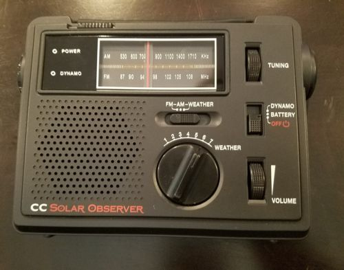 C. Crane CC Solar Observer AM, FM,  NOAA Weather Windup Emergency Radio W/Light