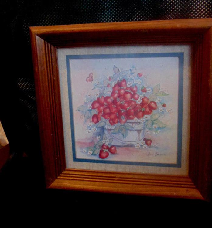 Vintage Picture-Pot of Strawberry Vine W/Strawberries On Them-Ava Freeman Signed