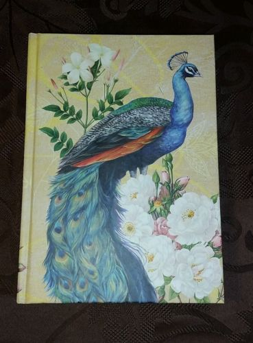 Peacock Floral Hardcover Journal Book Mary Beth Griffin Yellow Gold Edge NEW