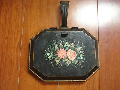 ANTIQUE METAL  HANDPAINTED FLORAL CRUMB PAN SIGNED FE