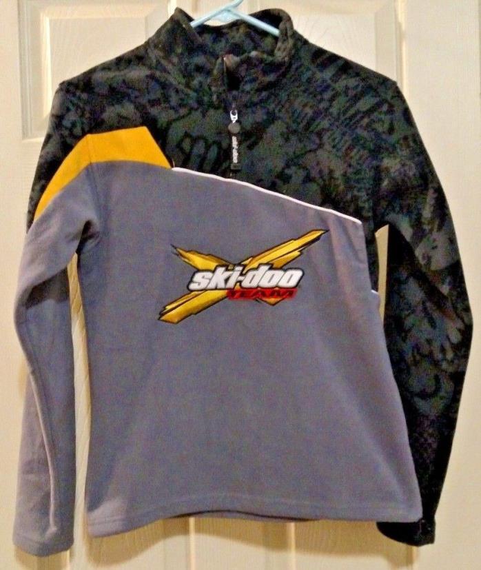 EUC Boys' BRP Ski-doo Team 1/4 Zip Pullover Black, Gray & Yellow Fleece Sz 10-12