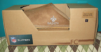 New Orleans Saints Slippers Men's XL (fits size 13-14) Tan Fleece Lined