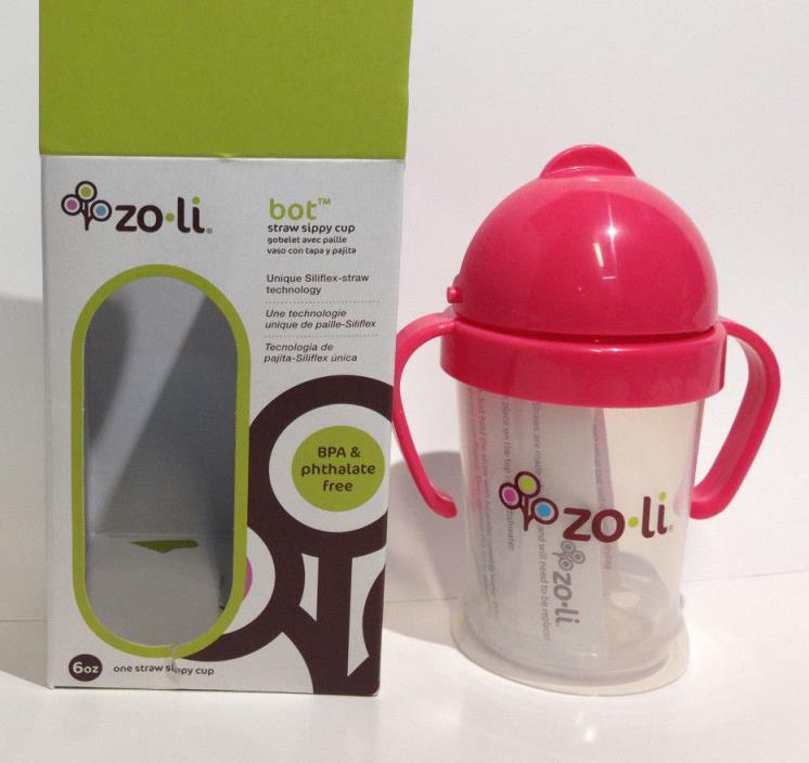 Zo-Li Bot Straw Sippy Cup 6oz Bottle Zoli Baby Pink