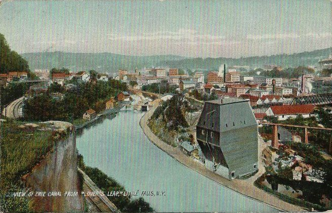 Old Postcard - View of The Erie Canal From Lovers Leap - Little Falls NY