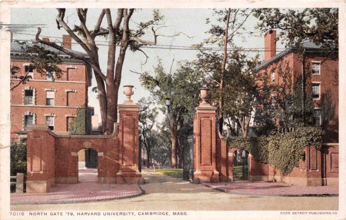 CAMBRIDGE MASSACHUSETTS NORTH GATE '79~HARVARD UNIVERSITY POSTCARD 1914 PSTMK