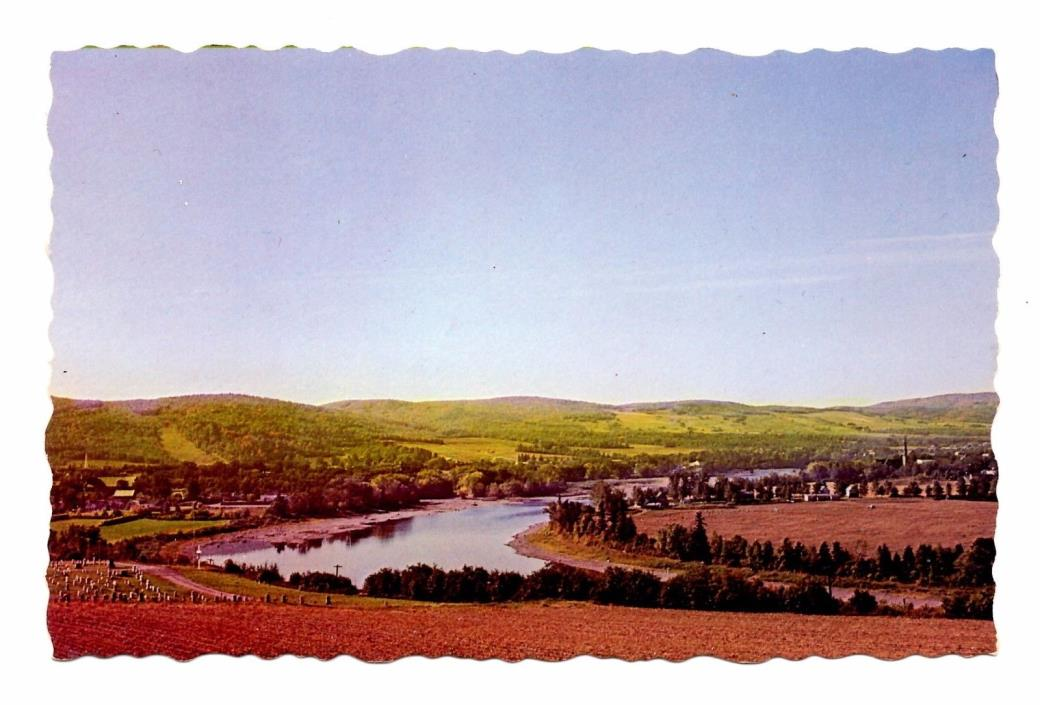 St John River Valley Postcard Fort Kent Maine Vintage Unposted Aerial View