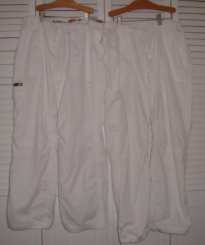 Kathy Peterson Koi White Scrub Pants M Medium Petite Lot Two Pockets Drawstring