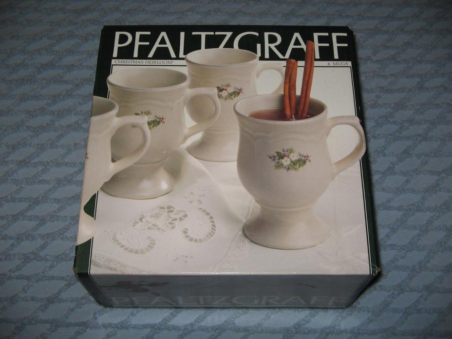 4 Pfaltzgraff Christmas Heirloom Pedestal Mugs NEW NIB UNOPENED