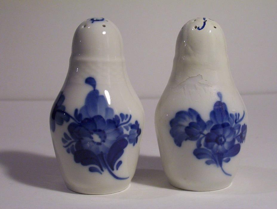 Royal Copenhagen 1938 & 1942 blue flower salt and pepper shakers repaired