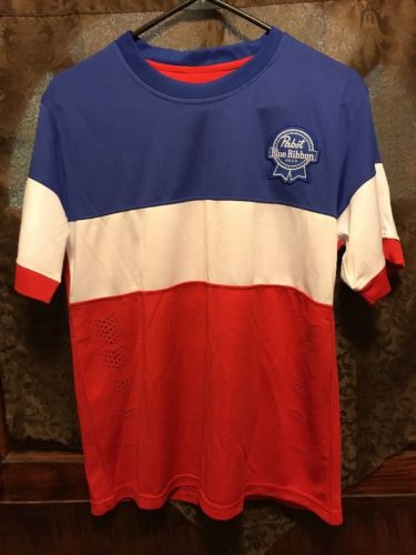 PABST BLUE RIBBON Beer Milwaukee ~ Men's MED ~ Soccer Jersey +  KOOZIES