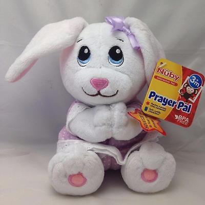 Nuby Prayer Pal Bunny Rabbit White Embroidered Eyes 7
