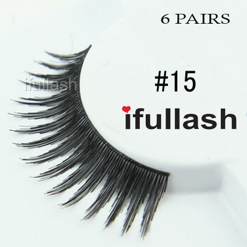 #15 6 Pairs Ifullash 100% BLK Human Hair Eyelashes *US SELLER* Fast Ship!