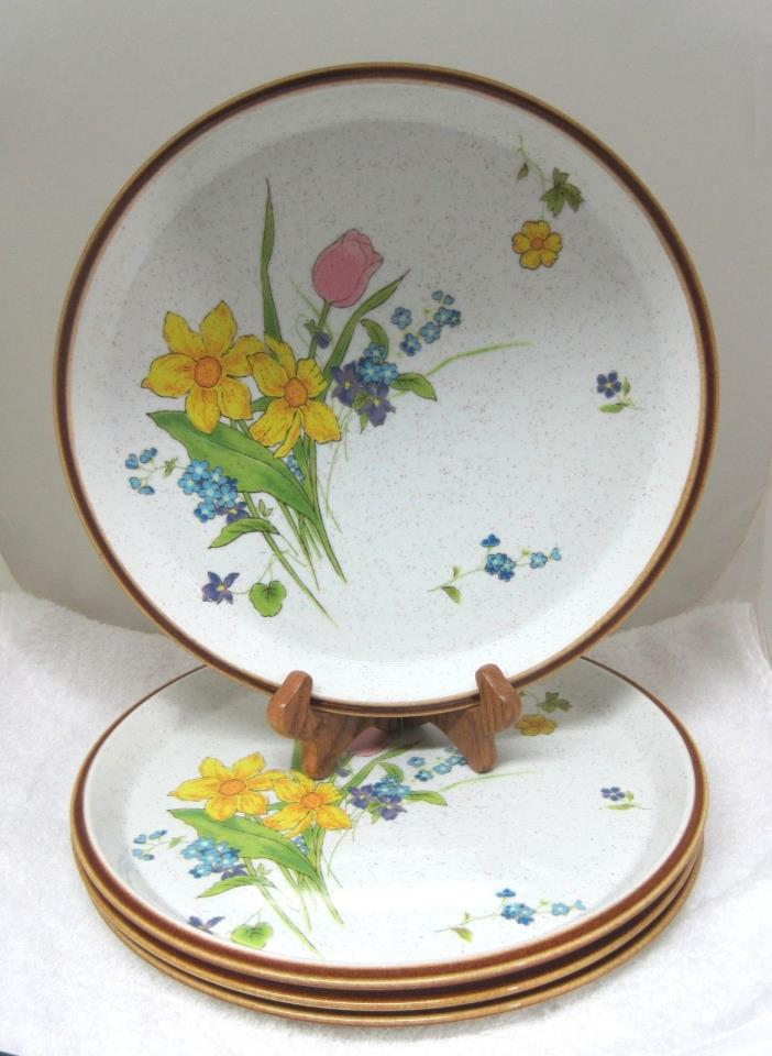 Lot of 4 Mikasa Fresh Blooms Dinner Plate 10 7/8