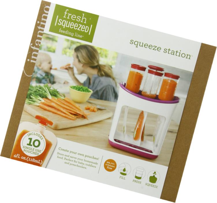 Infantino Squeeze Station Fresh Baby Puree Food Dishwasher Safe Easy Grip
