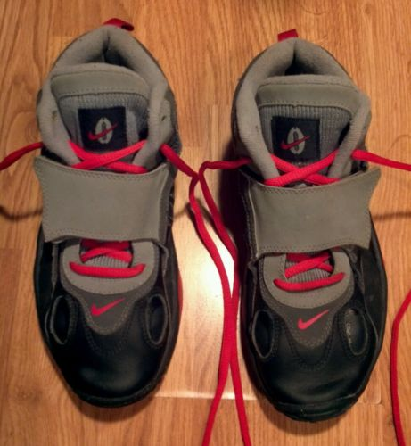 Nike Air basketball shoes youth size 5Y straps black gray red GUC